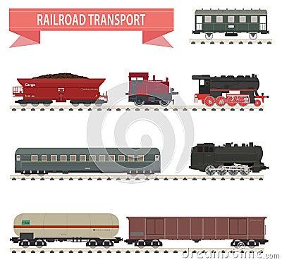 Trens. Grupo da estrada de ferro