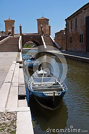 Trepponti bridge. Comacchio. Emilia-Romagna. Italy