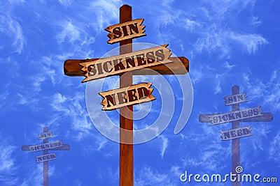 Tres cruces, pecado, enfermedad, necesidad