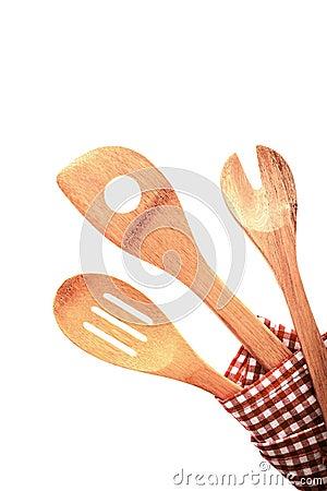 Tres utensilios rústicos tradicionales de la cocina