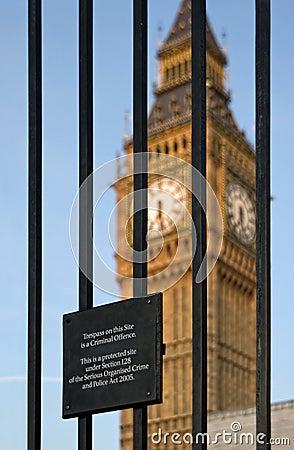 Trespass sign and Big Ben