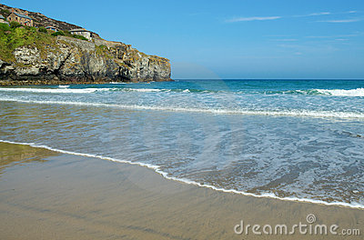 Trevaunance Cove beach near St. Agnes, Cornwall.