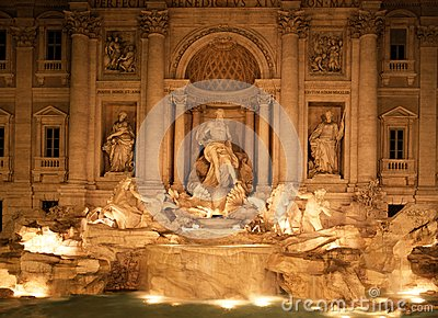 Trevi fountain at night, Rome, Italy.