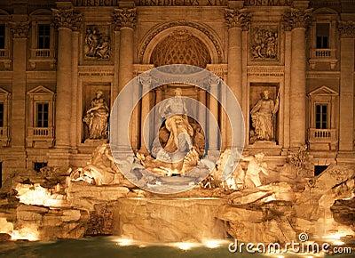 Trevi fountain at night, Rome, Italy.