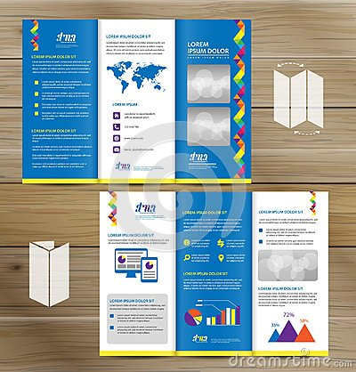 Free Tri-Fold Brochure Mock-up, Realistic Rendering Of Tri-Fold Brochure Background, 3D Illustration. Abstract Business Tri Fold Leafle Stock Photography - 113480122