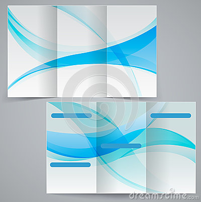Free Tri-fold Business Brochure Template, Vector Blue D Stock Photos - 35953473