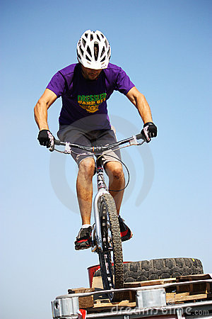 Trial biker at Trial Jam Event Editorial Stock Image