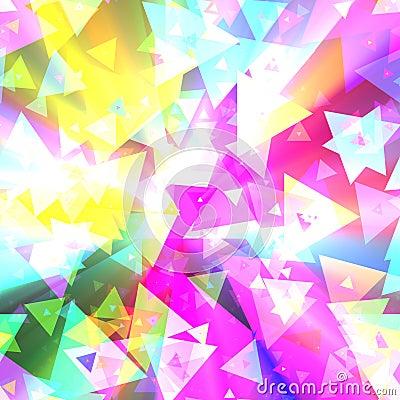 Triangle celebration colorful confetti glowing