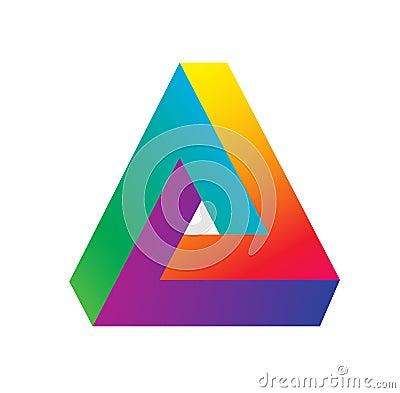 Triangle logo isometric, infinity sharp corner geometric shape illusion, hipster monogram converge overlapping line Vector Illustration