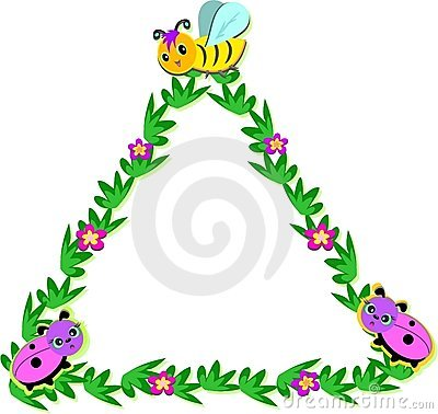 Triangle Nature Frame with Bees and Ladybugs
