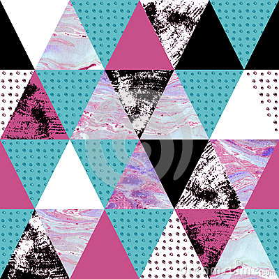 Free Triangle Seamless Pattern With Grunge And Watercolor Textures. Stock Image - 71216331