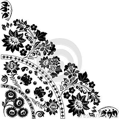 Triangular black design with flowers