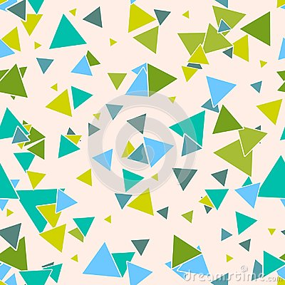 Free Triangular Geometric Seamless Pattern With Colorful Green, Blue Random Triangles On Pastel Beige Background. Stock Photography - 105386922