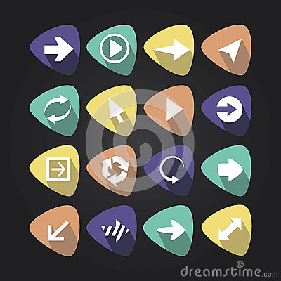 Triangular icons with arrows