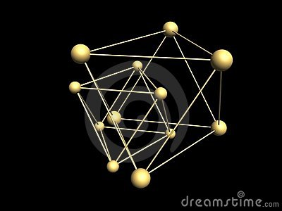 Triangular molecular structures.