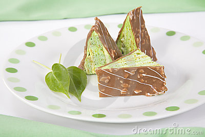 Triangular pieces of cake with chocolate on a