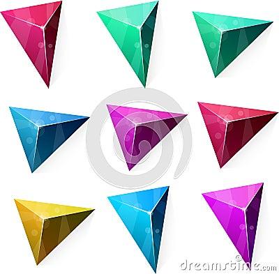 Triangular vibrant pyramid.