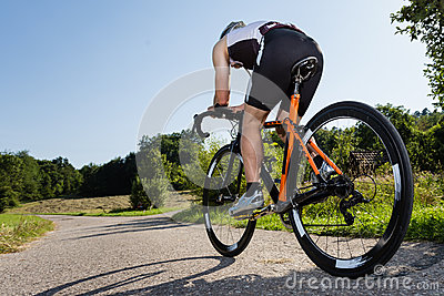 A triathlete is cycling