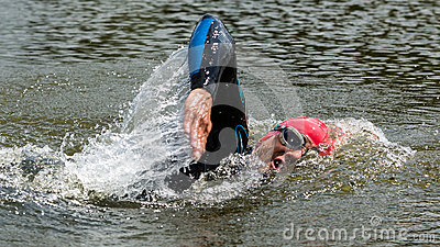 Triathlete in front crawl swimming