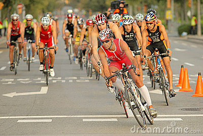 Triathletes on Bike event Editorial Stock Image