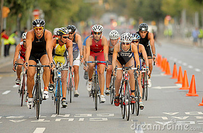 Triathletes on Bike event Editorial Photo