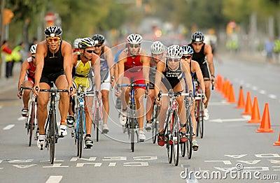 Triathletes on Bike event Editorial Photo
