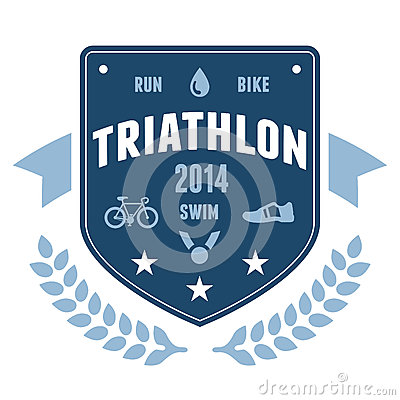 Free Triathlon Badge Emblem Design Royalty Free Stock Photos - 26050968