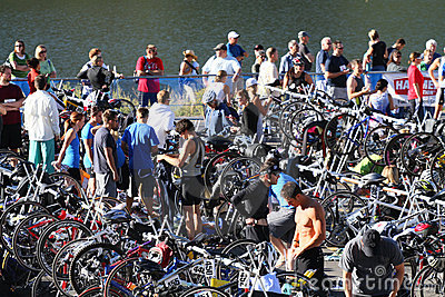 Triathlon race area Editorial Photography