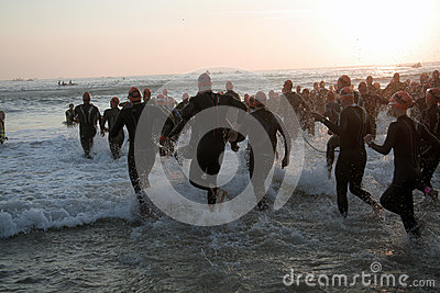 Triathlon start Editorial Stock Image