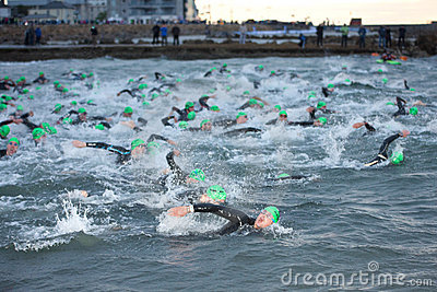 Triathlon swimmers Editorial Stock Photo