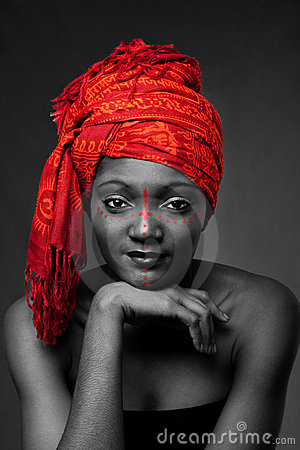 Tribal African woman with headwrap