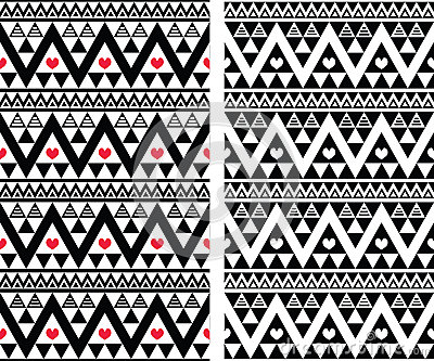 Tribal Aztec Colorful Seamless Pattern With Hearts Royalty Free Stock ...