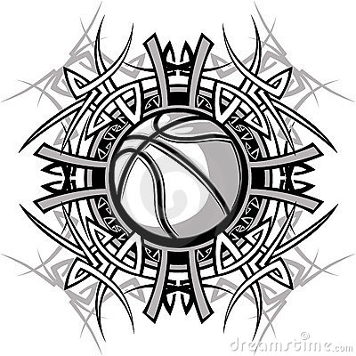 Tribal Basketball Ball Vector Logo