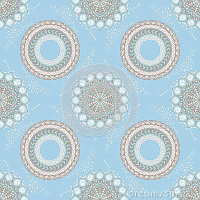 Free Tribal Boho Chic Design For Mandala Style Seamless Pattern With Pastel Background Royalty Free Stock Image - 119697856