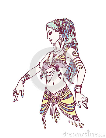 Free Tribal Dancer Or Belly Dancer Girl In Hand Drawn Style. Vector Illustration For Your Design. Stock Image - 94744911