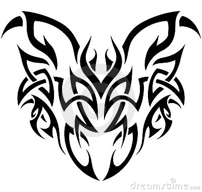 Tribal Demon in black and white