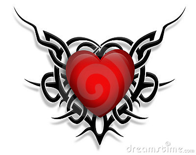 Tribal design Heart graphic tattoo