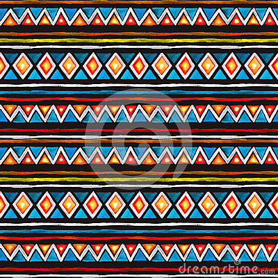 Free Tribal Design. Seamless African Pattern At Black Background. Vintage Watercolor Stock Images - 99285954