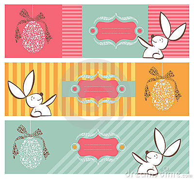 Free Tribal Egg And Easter Bunny Banners Set Stock Images - 23984744