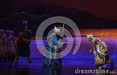 Tribal elders-Hui ballet moon over Helan Editorial Photography