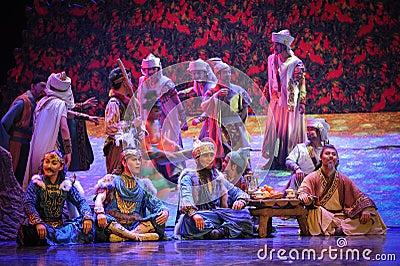 Tribal feast-Hui ballet moon over Helan Editorial Image