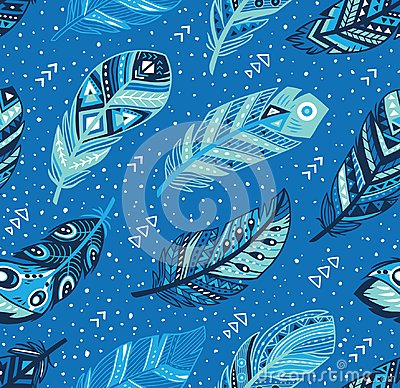 Free Tribal Feathers Pattern In Blue Colors. Vector Creative Illustration Stock Photography - 116079122