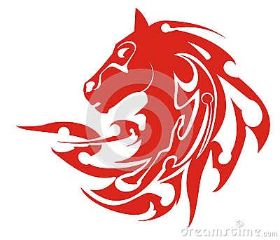 Tribal flaming horse head symbol, vector