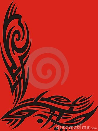 Tribal frame on red