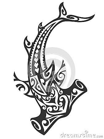 Free Tribal Hammerhead Shark Royalty Free Stock Photography - 40130287
