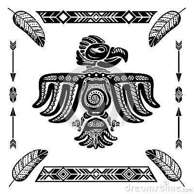 Tribal indian eagle tattoo vector illustration.