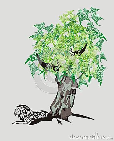 Tribal lion and dragon tree