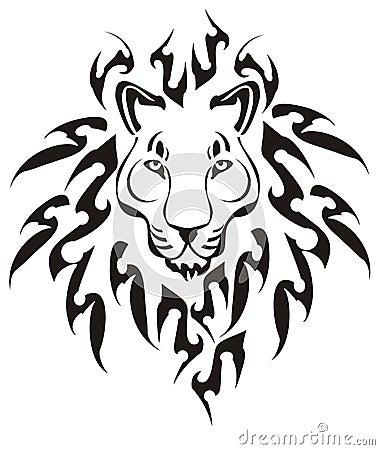 Tribal lion head, vector