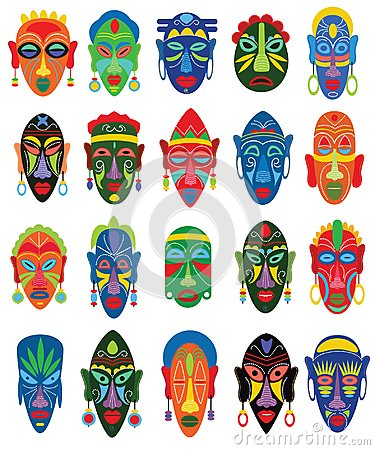 Tribal mask vector African face masque and masking ethnic culture in Africa illustration set of traditional masked Vector Illustration