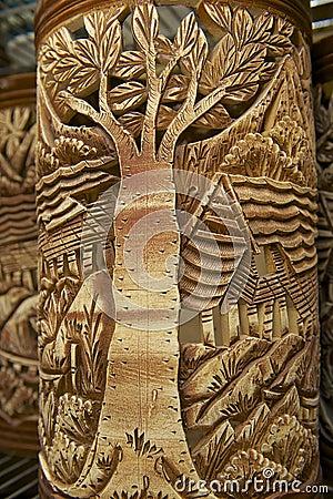 Free Tribal Motives Decoration At Traditional Souvenirs, Kuching, Sarawak, Malaysia. Stock Image - 48073721